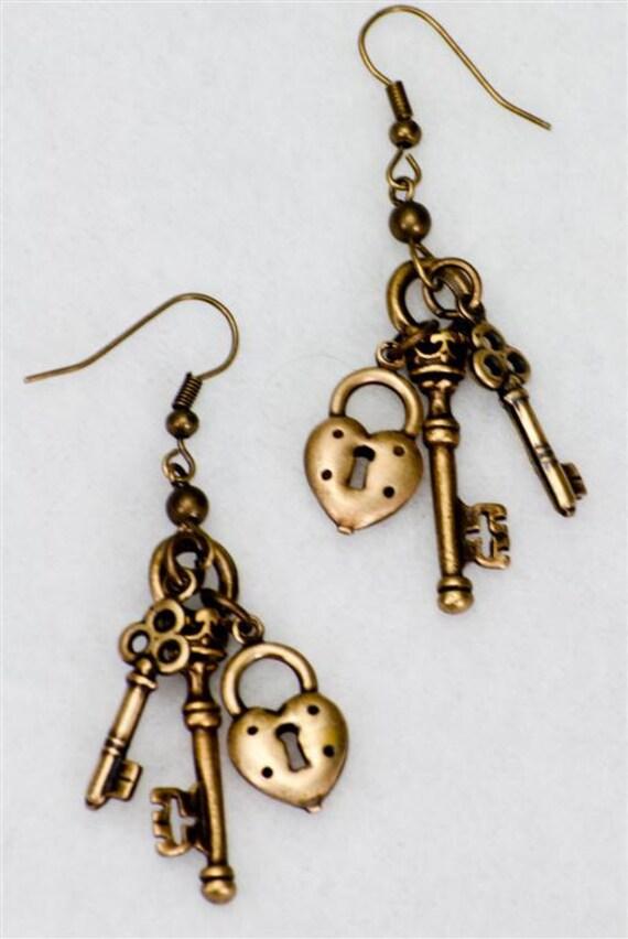 Steampunk Antiqued Vintage Lock & Skeleton Keys Earrings