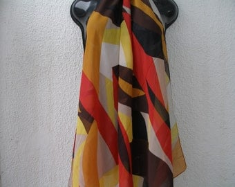 BEAUTIFUL SILK SCARF Vintage / Shawl / Large / Yellow / Red / Brown / Black / Ivory