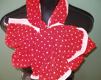 PRETTY LONG SCARF Vintage / Red / Tomato and Ivory Polka Dots