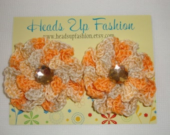 Crochet - Orange and tan poppy crocheted  flower hair clips