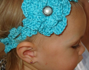 Crochet - Aqua Scalloped crocheted Headband with flower/pearl button