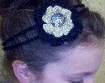 Crochet - Tan/black crocheted flower 2 string headband/with tan/black matching button  (PHOTO PROP)crocheted headband-flower-gift-hair clips