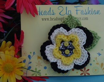 Crochet - Black, yellow and white crocheted flower hair clip/with matching flower button