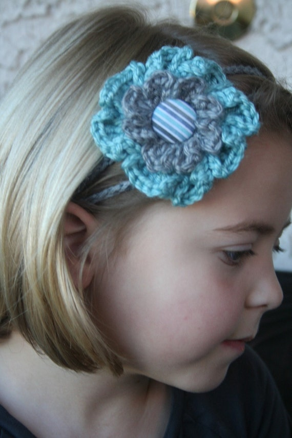 Crochet - Light teal/gray  crocheted flower 2 strand headband, women birthday, gift, flower crocheted headband (PHOTO PROP)