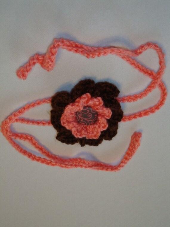 Crochet - Melon/brown crocheted 2 strand flower headband