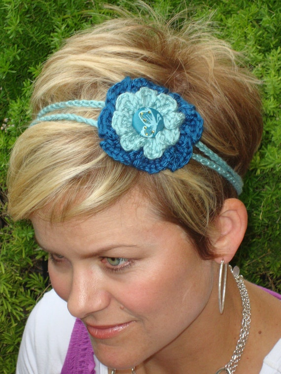 Crochet - Dark teal and light teal crocheted flower 2 strand headband/with butterfly button