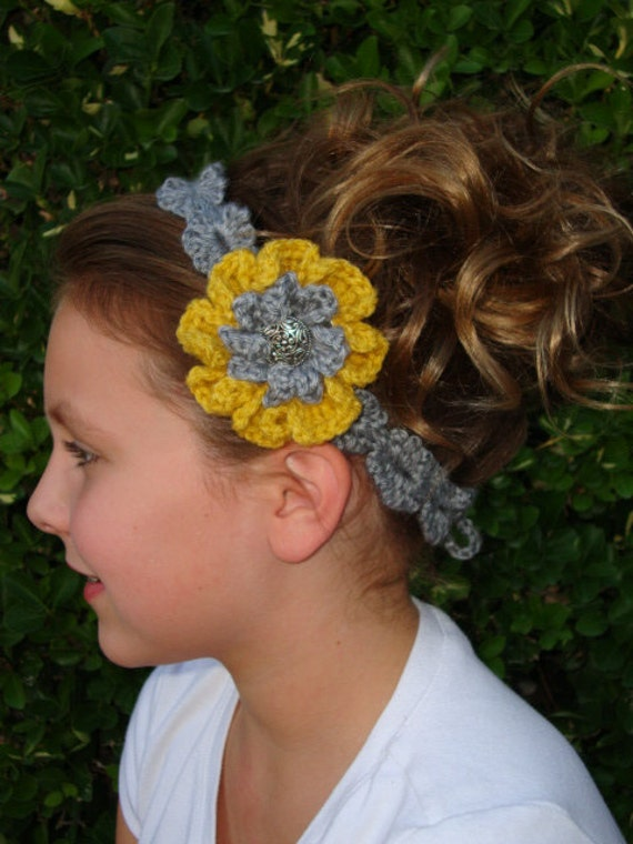 Crochet - Gold and Gray Scalloped Crocheted Headband with detachable flower (PHOTO PROP)-crochet-flowers-gift-women-crocheted headband