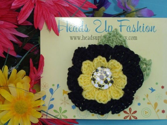 Crochet - Black and yellow crocheted flower hair clip/with matching button, summer, wedding, headband, crocheted photo prop
