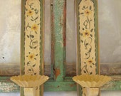 Cute Vintage Wooden Hand Painted Wall Candle Sconces