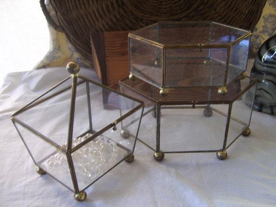 Vintage Brass and Glass Domed Jewelry Trinket  Storage display Casket Box