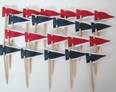 24 Nautical Cupcake flags, Red and Navy, by Kiwi Tini Creations