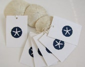 50 Nautical Wedding Favor tags in Navy Sand Dollars by Kiwi Tini Creations