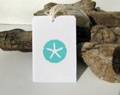 100 Beach Wedding tags, Sand Dollars Favor tags, destination wedding tags, by KiwiTiniCreations