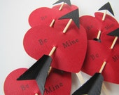 24 Cupid's Arrow Be Mine Cupcake Toppers by Kiwi Tini Creations