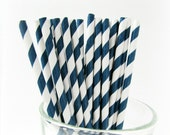 Navy Paper Straws, navy blue straws, blue white striped straws with printable paper flags
