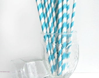 Turquoise Striped Paper Straws with 25 DIY Printable Paper flags