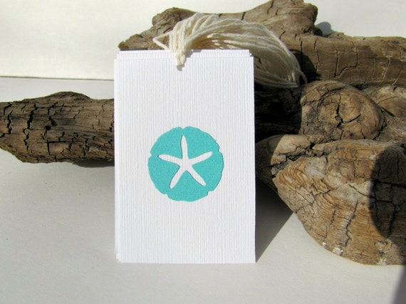 100 Beach Wedding tags, Sand Dollars Favor tags, destination wedding tags, by KiwiTiniCreations