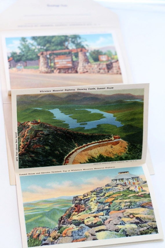 1940's Vintage Post Card Book, Whiteface Mt, Adirondack Mts NY
