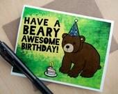 Bear Birthday Card - Beary Awesome