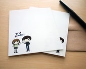 "Korean Hello Chibi Note Cards - Set of 12 - ""Annyeong Haseyo"""