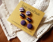 purpled zebra - fabric covered button earrings - set of three - 1/2 inch