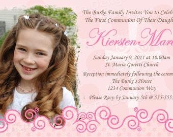 Photo First Communion Girl Invitation DIY