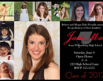 Graduation Photo Invitation or Open House Announcement Printable