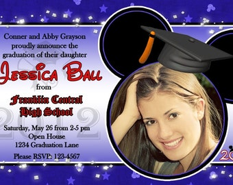 Mickey Inspired Graduation Photo Invitation or Open House Announcement Printable