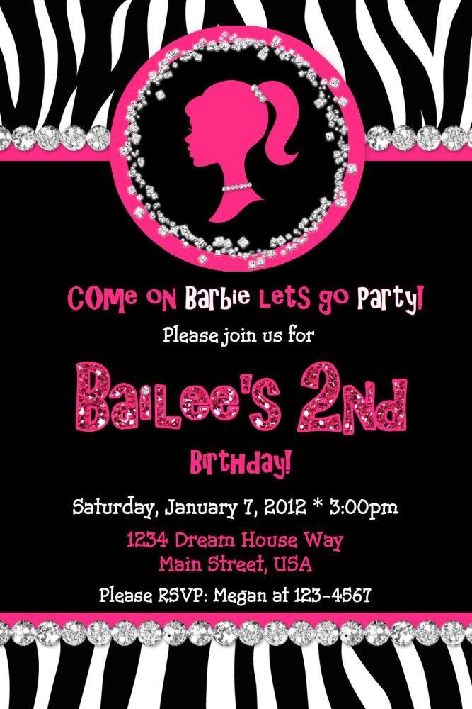 Barbie Silhouette Birthday Invitation Zebra Digital
