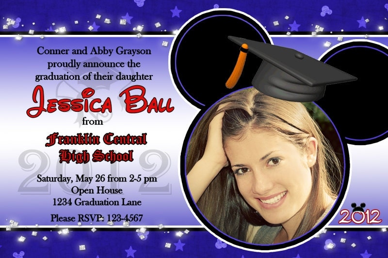 mickey inspired graduation photo invitation or open house, Birthday invitations