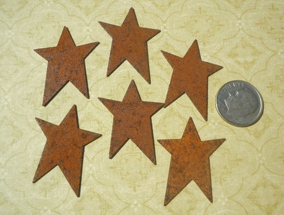 10 Rusty Tin Star Cutouts for rustic - wood crafts - signs - ornaments - chimes - woodworking - primitive decor - embellishments