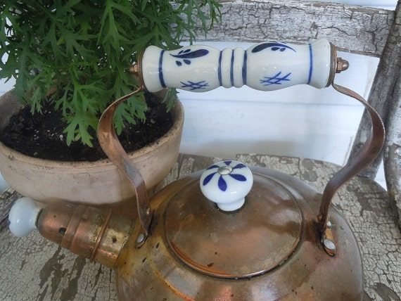 Vintage Copper Tea Kettle Or Teapot / With Porcelain Handle / Blue And White