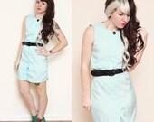 SALE - Mint Button Up Dress with Belt - Size XS