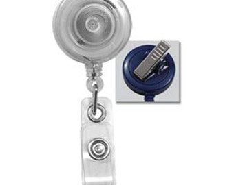 10 Clear Top Quality ID Badge Reels w/ Swivel Clip 2120-7621