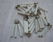 Vintage White Bugle Bead Dangling Trio 20mm Tall Silver Ring QTY - 4 sets