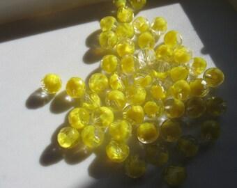 Vintage Lemon Givre Crystal Beads 10mm QTY - 12