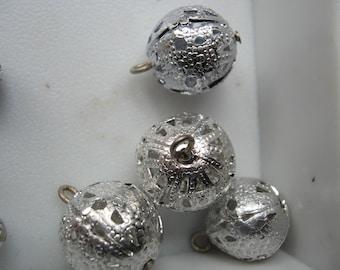 Vintage Silver Filagree Charm 16mm Ball Drops QTY - 5