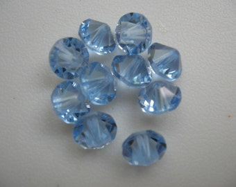 Vintage Swarovski Light Sapphire Crystals Article 5304 8mm Bi-cones QTY - 8