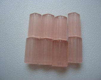 Vintage Bohemian Pink Satin Glass Beads 10x7mm 5 SIDED QTY - 2