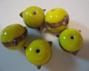 Vintage Venetian Lampworked Aventurine Chromium Yellow Beads QTY - 2