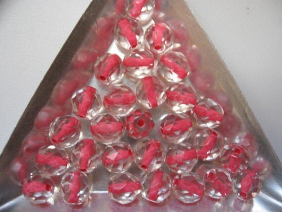 Vintage Lined Crystal Beads Coral Pink Lined Czech 8mm QTY - 30 only ones left