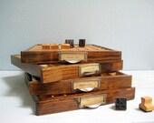 Vintage Wooden Letterpress Drawer - Printers Block Tray