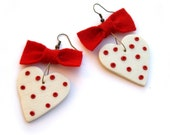 Heart earrings, Red bow, polka dot, red and white, Summer fashion jewelry