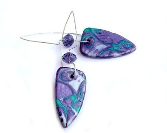 Earrings, Purple earrings, polymer clay jewelry, Christmas gift