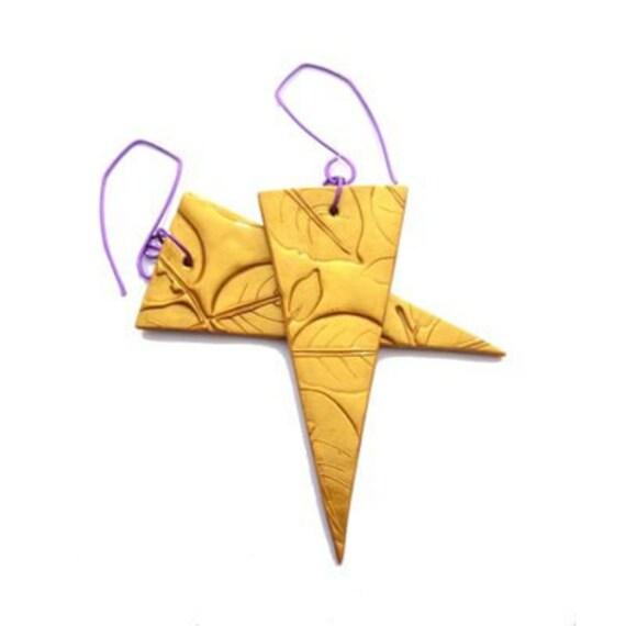 Geometric jewelry, Gold statement triangular earrings, Fashion Jewelry, yellow, Polymer clay handmade on Etsy