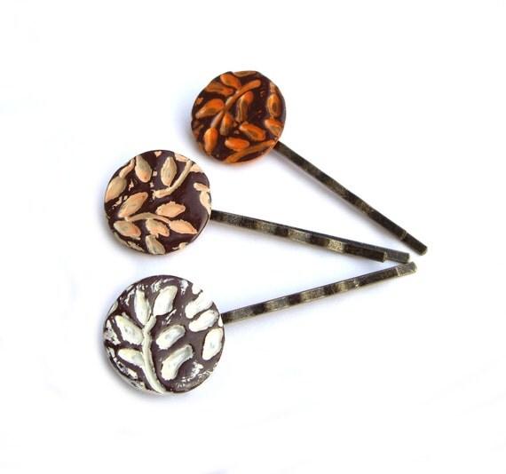 Hair pins, Orange and white, autumn leafs, Set of 3,