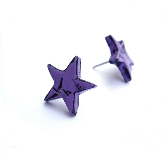 Purple stud earrings, star earrings, minimalist, polymer clay jewelry by JP with love