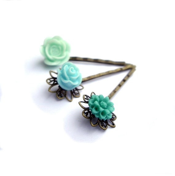 Mint Hair pins, Turquoise Hair pins, Teal Hair pins,