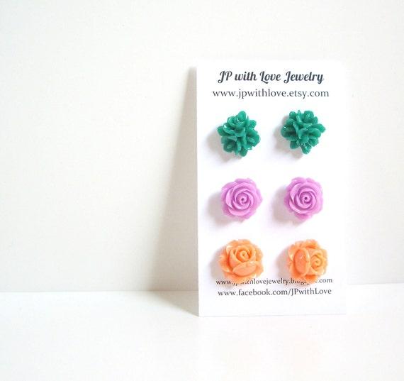 Flower stud earrings, Green Stud earrings, lilac stud earrings, peach stud earrings, flower earrings, rose, set of 3, flower jewelry