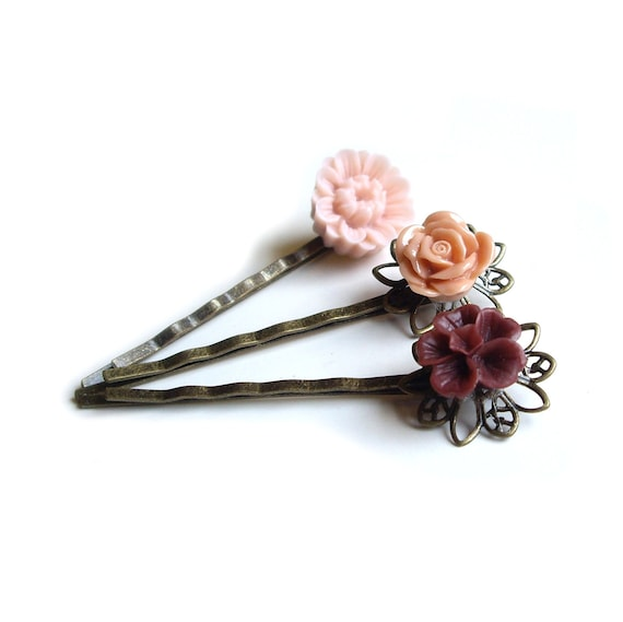 Hair pins, Flower Hair pins, Peach Hair pins, Cinnamon Hair pins, Hairpins, Set of 3